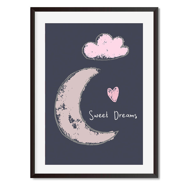 Sweet Dreams Dark Blue Moon And Cloud Wall Art Print