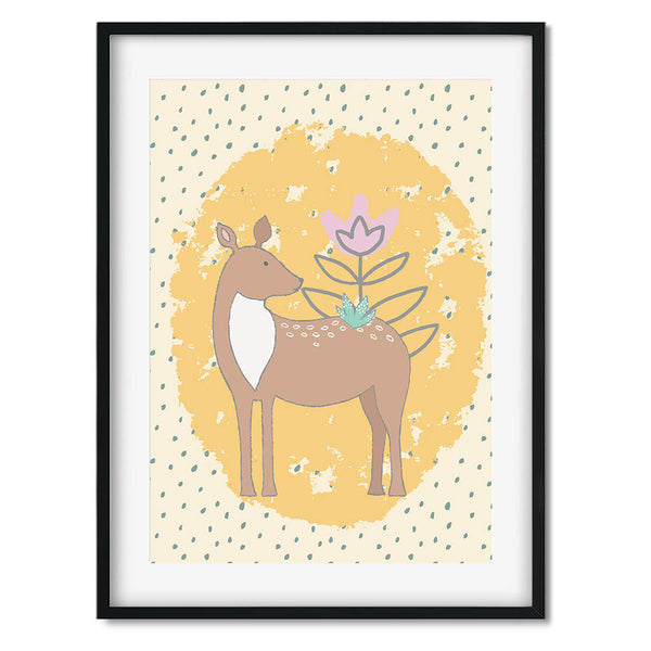 Woodland Deer Wall Art Print