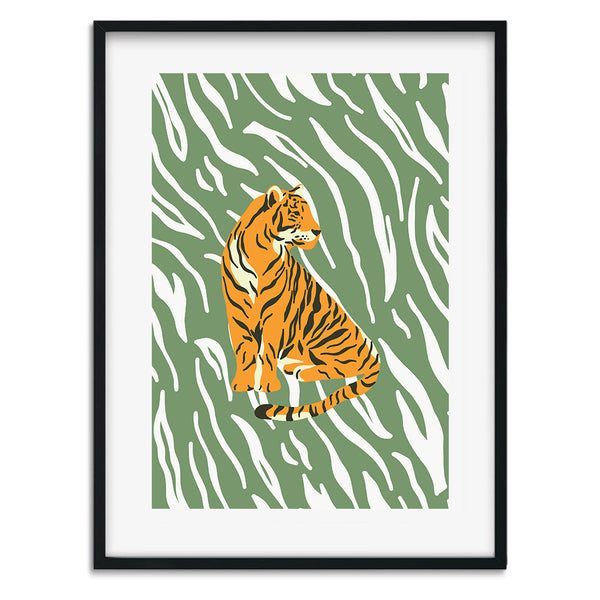 Botanical Tiger Wall Art Print - Mode Prints