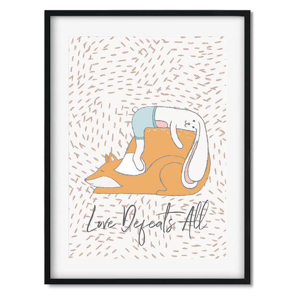 Love Defeats All Fox Wall Art Print