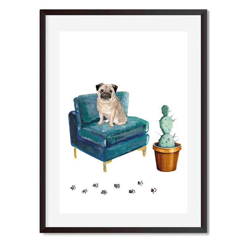 Pug In Green Armchair Wall Art Print