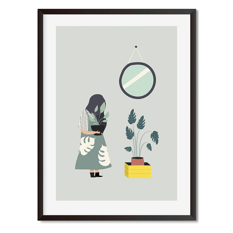 Plant Life Girl Monstera Wall Art Print
