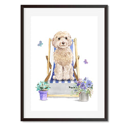 Cockapoo Dog In Deck Chair Wall Art Print - Mode Prints