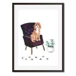 Cavapoo Dog On Armchair Wall Art Print - Mode Prints