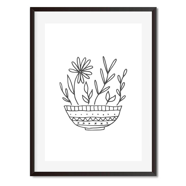 Vase Of Flowers Black And White Illustration Wall Art Print - Mode Prints