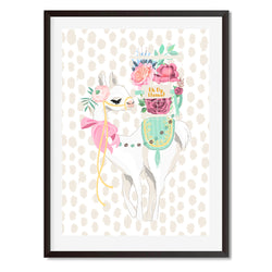 Floral Delights Oh My Llama Wall Art Print - Mode Prints