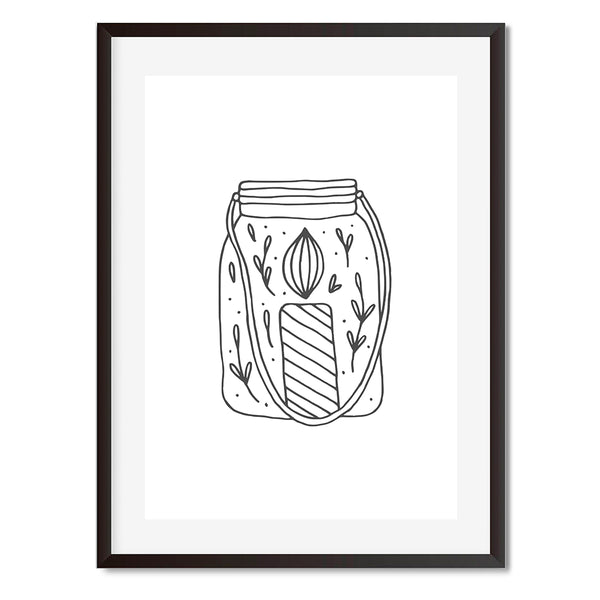 Mason Jar Black And White Illustration Wall Art Print - Mode Prints
