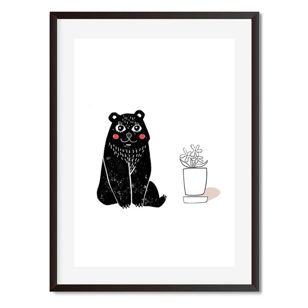 Linocut Bear And Potted Plant Illustration Wall Art Print - Mode Prints