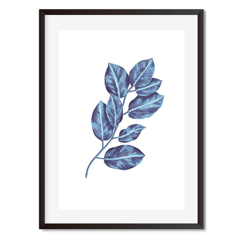 BOTANICAL LEAVES BLUE Wall Art Print - Mode Prints