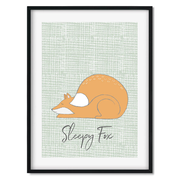Sleepy Fox Wall Art Print