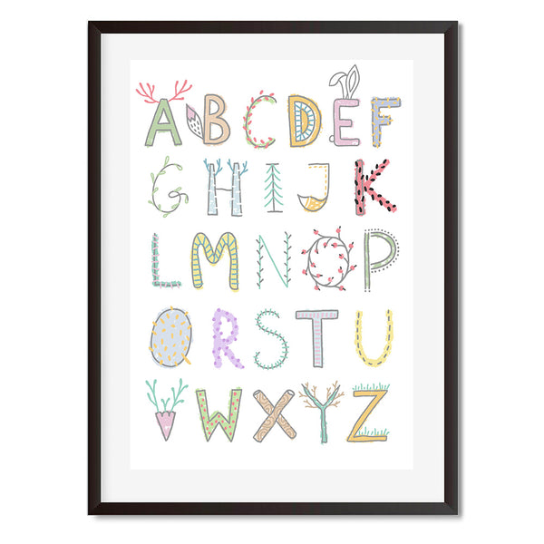Alphabet Blossom Wall Art Print - Mode Prints