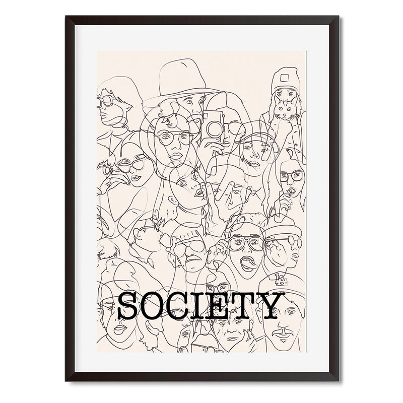 Society Black And White Portrait Sketches Wall Art Print