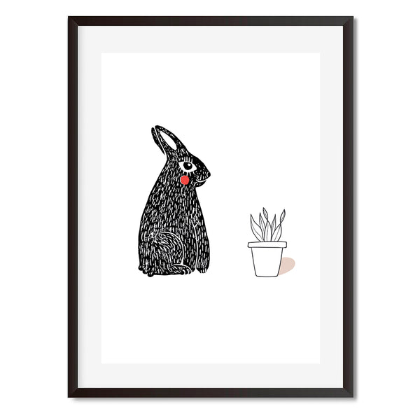 Linocut Bunny And Potted Plant Illustration Wall Art Print - Mode Prints