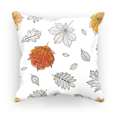 Autumn Watercolour Leaves Cushion