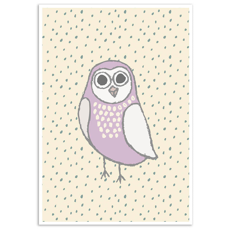 Purple Owl Wall Art Print