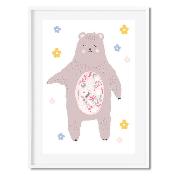 Floral Bear Wall Art Print - Mode Prints