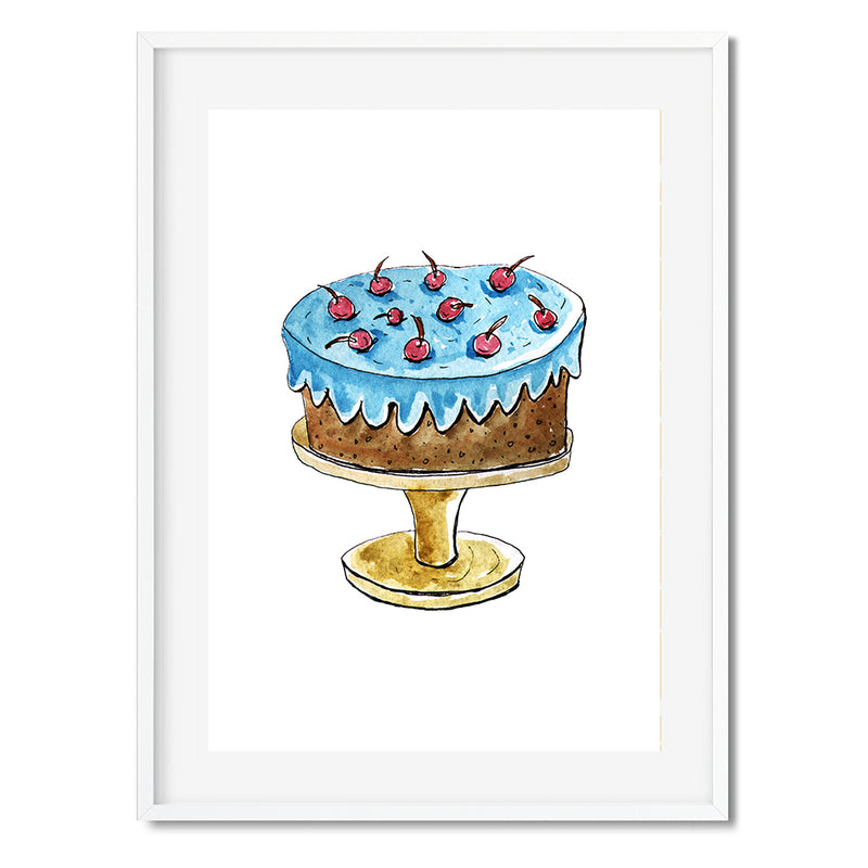 Chocolate Cake With Icing And Cherries Wall Art Print - Mode Prints