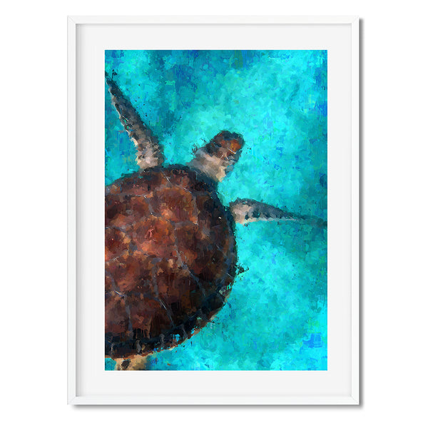 Oil Painting Turtle Wall Art Print