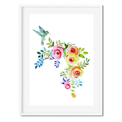 Hummingbird Floral Wall Art Print - Mode Prints