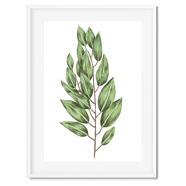 Botanical Leaf Stem Wall Art Print