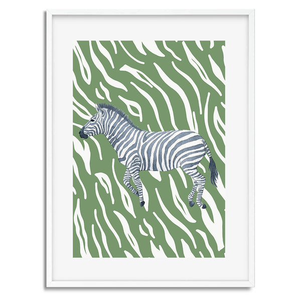 Tropical Zebra Wall Art Print