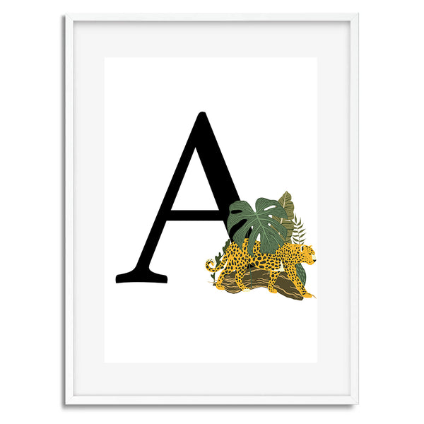 Tiger Initial Tropical Personalised Wall Art Print