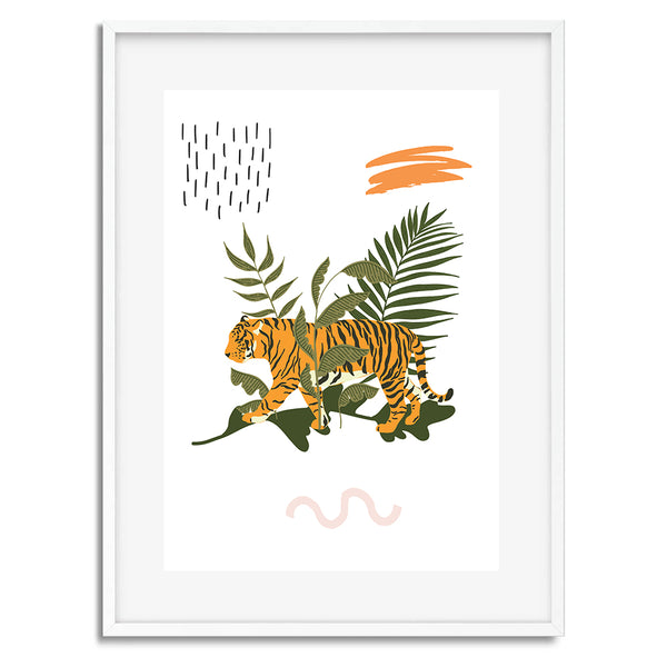 Jungle Tiger Illustration Wall Art Print - Mode Prints