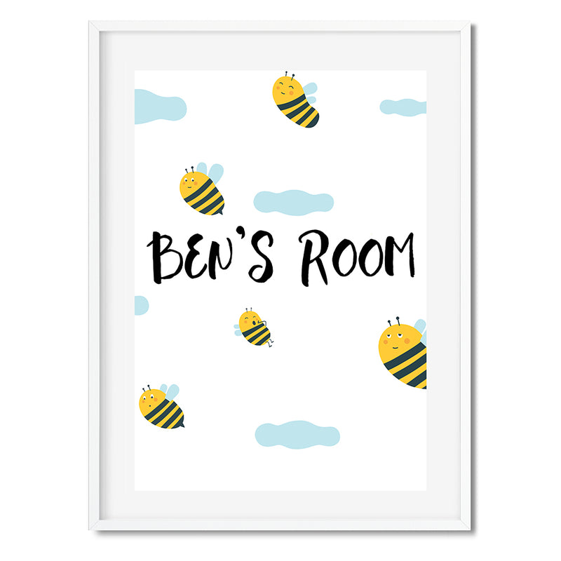 Personalised Bee Room Wall Art Print - Mode Prints