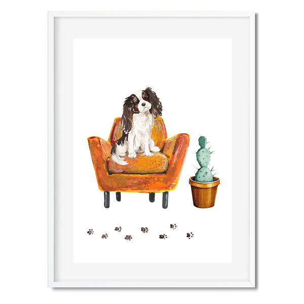 Tri Colour King Charles Spaniel Dog On Armchair Wall Art Print