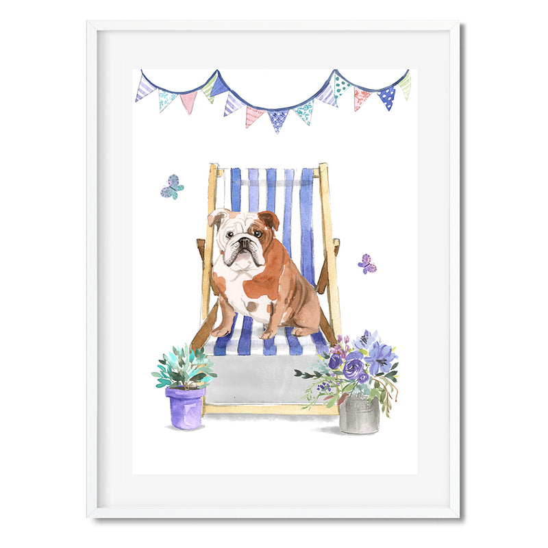 English Bulldog Dog In Deck Chair Wall Art Print - Mode Prints