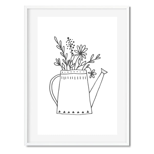 Black And White Gardening Watering Can Wall Art Print - Mode Prints