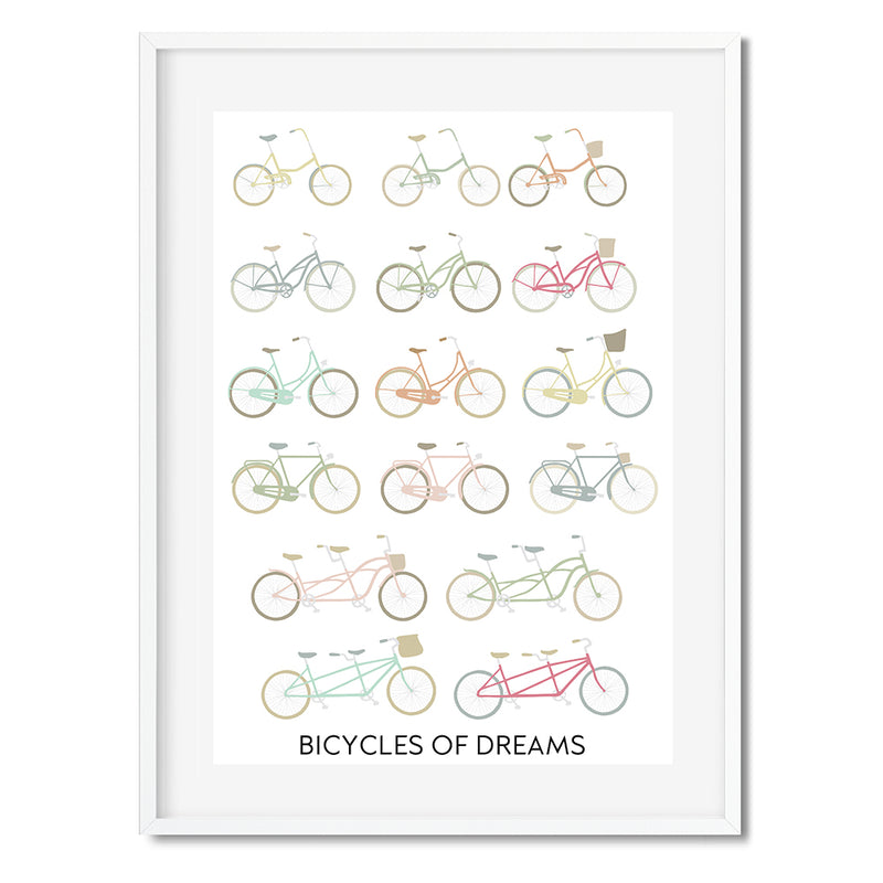 Bicycles Of Dreams Illustration Wall Art Print - Mode Prints