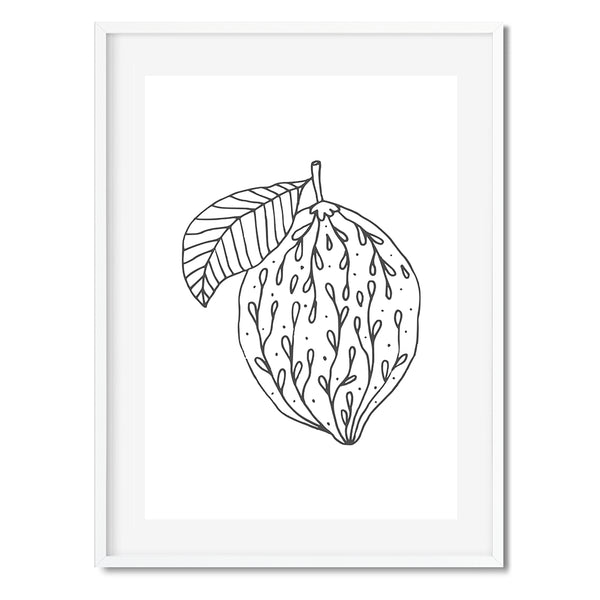 Lemon Black And White Illustration Art Print - Mode Prints