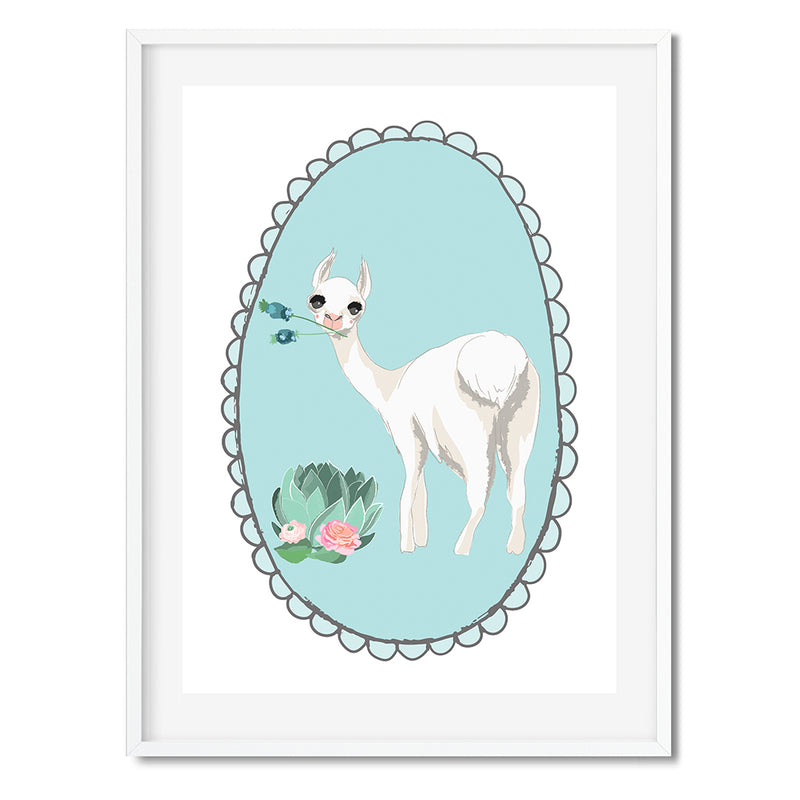 Floral Portrait Oh My Llama Wall Art Print - Mode Prints