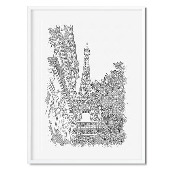 Eiffel Tower Black And White Art Print - Mode Prints
