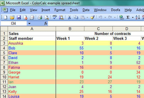 Screenshot: ColorCacl example spreadsheet
