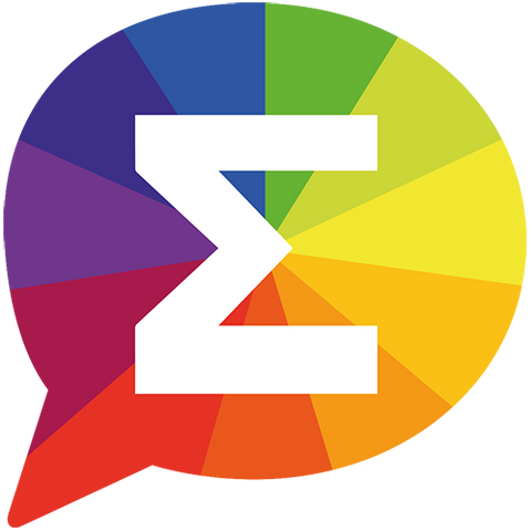 ColorCalc logo – colourful speech bubble with a sigma symbol