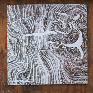 Burr Elm relief print featured on greetings cards