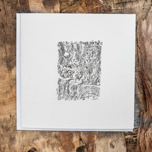 Original hand printed Relief print art card of Burr Elm