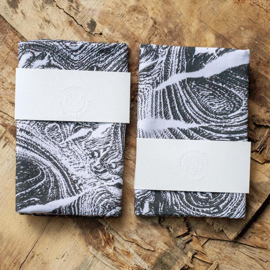 Oak and Burr Elm print cotton T-Towels