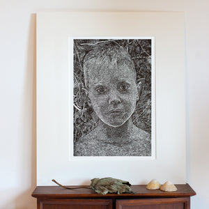 wood engraving art print portrait on Resingrave block