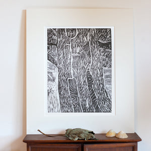 woodcut prints of sycamore tree with acid free mount