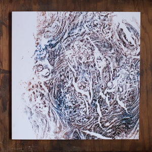Burr Elm relief print featured on greetings cards with poem