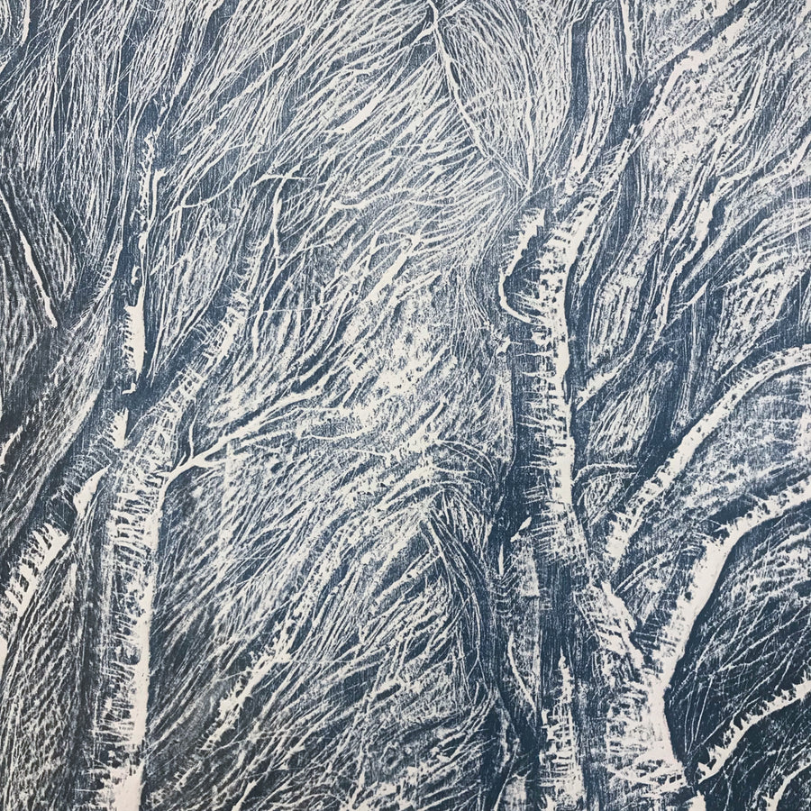 Twilight Birches limited edition woodcut