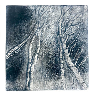 Woodcut Print Twilight Birches