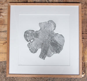 Yew tree round relief print art