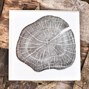 relief print art card Yew tree round