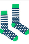 Bryt Navy and White Stripe and Spot Socks
