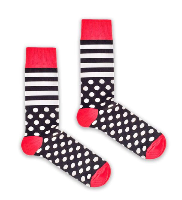 Bryt Black and White Stripe and Spot Socks