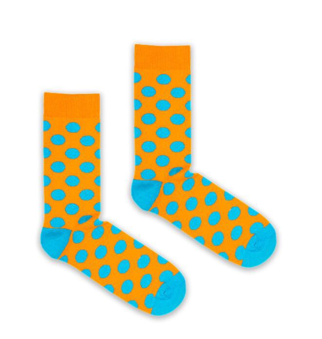 Bryt Orange and Blue Polka Dot Socks